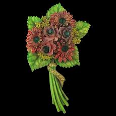 Old 1930s Celluloid Flower Bouquet Pin w/ Rhinestones