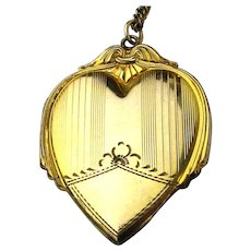 Art Deco Era Gold-Filled Heart Locket Pendant Necklace