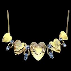 Vintage KREMENTZ Gold-Filled Hearts Necklace w/ Blue Rhinestones