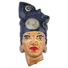 1940s Elzac Style Handpainted Celluloid Plastic Pin Woman w/ African Head Wrap