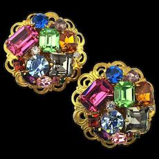 Big Multi-Color Crystal Rhinestone Clip Earrings Filigree Gilt