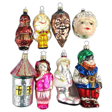 Eight Vintage Figural Glass Christmas Tree Ornaments Germany Czech Radko