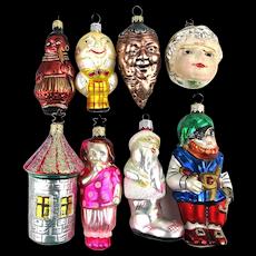 Eight Vintage Figural Glass Christmas Tree Ornaments Germany Czech Radko
