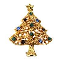Eisenberg ICE Rhinestone Christmas Tree Pin Brooch