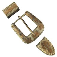 Ornate Old Mexican 800 Silver Belt Buckle Set 3 Pc.