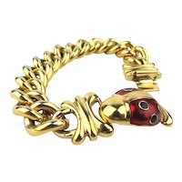 Joan Rivers Enamel Lady Bug Gilt Chain Link Bracelet