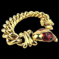 Joan Rivers Enamel Lady Bug Gilt Chain Link Bracelet