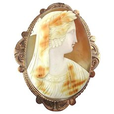 Victorian Carved Shell 10K Gold Cameo Pin - Grecian Goddess