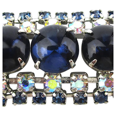 Vintage Cobalt Blue Glass Bracelet w/ AB Rhinestone Border