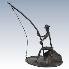 Mid-Century Sterling Silver Miniature Fisherman Figurine Israel