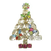 Large Opulent Vintage Christmas Tree Pin Big Crystal Rhinestones