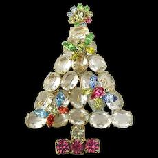 Large Opulent Vintage Christmas Tree Pin Big Crystal Rhinestones