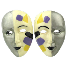 Vintage Enamel Painted Mask Earrings Split Face Art