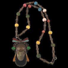 Mexican COBRE Aztec Mayan Clay Head Mask Copper Gem Bead Necklace