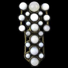 Art Deco Milk White Crackle Glass Dress Fur Clip