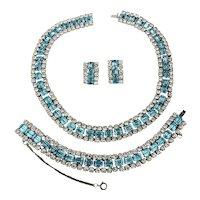 Vintage 3 Pc. Rhinestone Parure Set - Necklace Bracelet Earrings