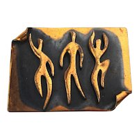 Modernist REBAJES Copper Pin Brooch - Dancers Dancing