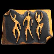 Modernist REBAJES Copper Pin Brooch - Dancers Dancing