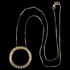 Pretty 10K Gold - 925 Sterling Silver Pendant Necklace Faux Diamonds