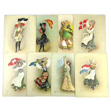 c1910 Turkish Trophies FLAG GIRLS Pin-Up Litho Pictures Tobacco Premium