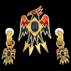 Vintage Bob Mackie Enamel Eagle BIRD Pin w/ Earrings Set