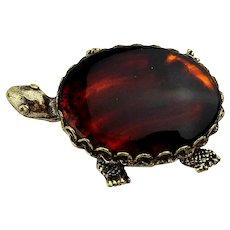 Original by Robert Tortoise Glass Back Turtle Pin Brooch