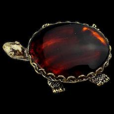 Original by Robert Tortoise Glass Back Turtle Pin Brooch