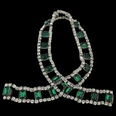 Vintage Rhinestone Belt or Necklace - Faux Diamonds n Emeralds