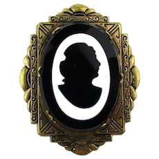 Victorian Black n White Silhouette Glass Brass Cameo Pin Brooch