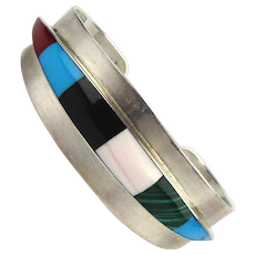 Great Sterling Silver Mexican Inlaid Cuff Bracelet Gemstones