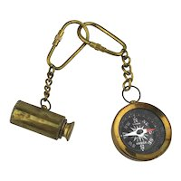 Vintage Miniature Brass Compass and Telescope Keychains