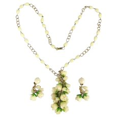 Vintage Carved Celluloid Flowers Necklace Earrings Set