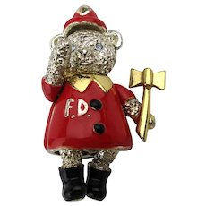 Napier Enamel FIREMAN Teddy Bear Pin Articulated Moves
