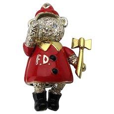Napier Enamel FIREMAN Teddy Bear Pin Articulated Moves