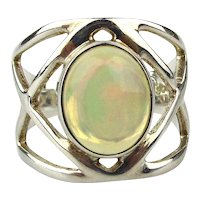Signed Designer Sterling Silver Ring w/ Opalescent Stone