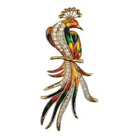 Huge Enamel Rhinestone Tropical Bird Pin Brooch 5.5 Inches