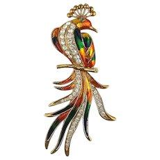 Huge Enamel Rhinestone Tropical Bird Pin Brooch 5.5 Inches