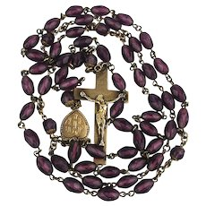 Victorian Gold-Filled Amethyst Bead Rosary Crucifix Necklace