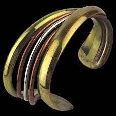 Signed CLARKE V CARMEN Multi Metal Modernist Cuff Bracelet