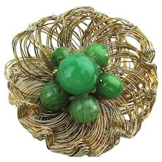 Signed WEISS Gilt Wire Flower Pin w/ Jade Glass