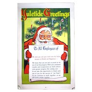 1948 Vintage Christmas SANTA Poster - Employees Thank You Pep Talk