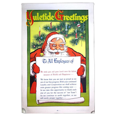 1948 Vintage Christmas SANTA Poster - Employees Thank You Pep Talk