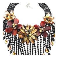 Big Fabulous Bib Necklace Glass Shell Crystal Carnelian Signed