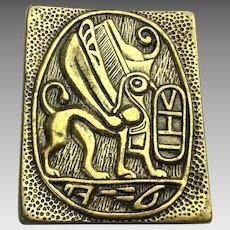 Modernist Solid Brass Griffin Belt Buckle Buckler Israel