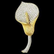 Nolan Miller Calla Lilly Crystal Rhinestones Brooch Pin