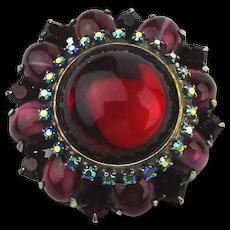Exceptional Danny Pollak Vintage Jewel Rhinestone Pin Pendant Handmade