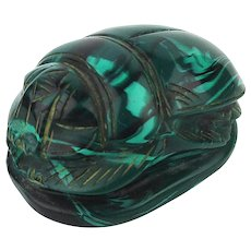 Vintage Carved Solid Heavy Plastic SCARAB Paperweight Figurine