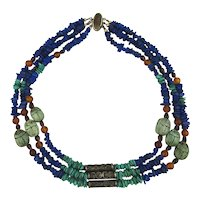 Ethnic Multi Gemstone Necklace Lapis Turquoise Silver Scarabs Amber