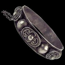 Old Ethnic Sterling Silver Hinge Bracelet - Handwrought Overlay
