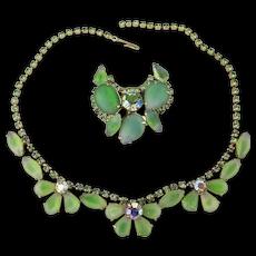 Minty Pretty Art Glass Rhinestone Necklace - Pin Set